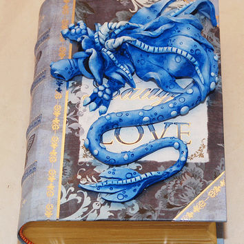 Ooak Polymer Clay Blue Sad Little Dragon on Small Butterfly Victorian Book / Box