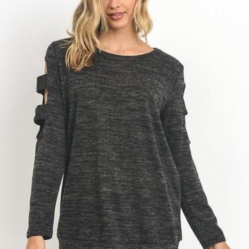 Charcoal Cut Out Detail Top