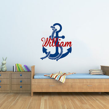 Wall Decal Personalized Anchor Name Vinyl Sticker Custom Name Decals Nautical Anchor Underwater Baby Name Nursery Boys Room Decor AN616