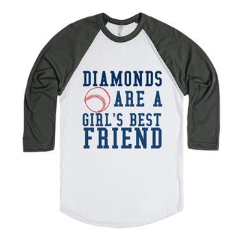 Diamonds Are A Girl'S Best Friend Baseball Tee-T-Shirt L