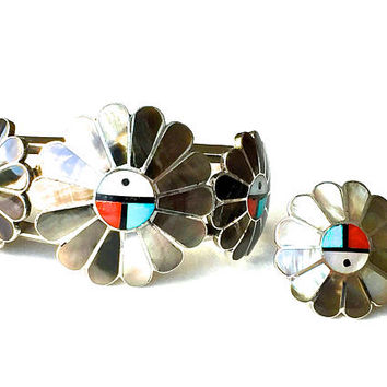 Zuni Inlaid Bracelet Ring Set, Sterling, Mother Of Pearl Turquoise Coral Onyx, Vintage 1940s, A Gasper, Sun Face, Native American Jewelry