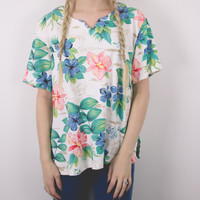 Vintage Boxy Tropical Blouse
