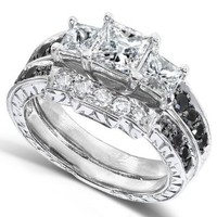 Black and White Diamond Wedding Set 1 3/5 carats (ctw) in 14K White Gold