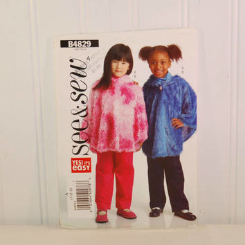 Butterick B4829 See & Sew, Yes! It's Easy (c. 2006) Child Size 1, 2, 3, Toddler Poncho, Pants, Fuzzy Poncho, Fun Clothes, Play Clothes