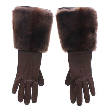 Dolce & Gabbana Brown Rabbit Fur Lambskin Leather Gloves Silk