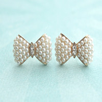 pearl studded bow earrings