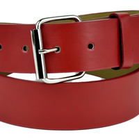 Plain Red Genuine Leather Belt DIY Gothic Deathrock Clothing