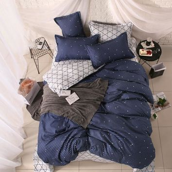 Winter Modern style Bedding Set Polyester Duvet Cover set flat Sheet Pillowcase Twin Full Queen size King be set 4Pcs /3 Pcs