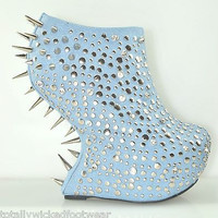 "Rosewell  BLUE Dragon Scale 7"" Heel Less Wedge Platform Shoe Size 9"