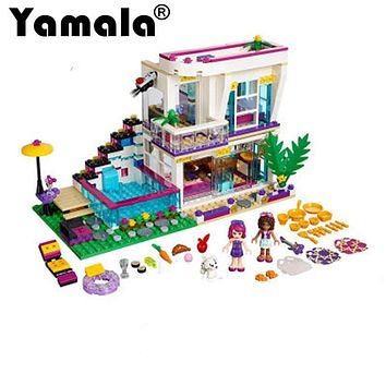 [Yamala] New 619pcs Friends Series Livi's Pop Star House Building Blocks Andrea mini-doll figures Toy Compatible With Legoingly