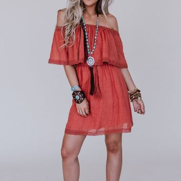 Wavy Lengths Dress - Rust