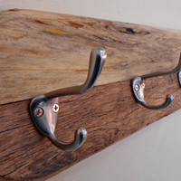 "Wall Coat Rack, Rustic Wood Holder, Oval shape, Natural finish, 5 Beefy Hooks, many Kitchen uses, from Pallet lumber, 30"" long"