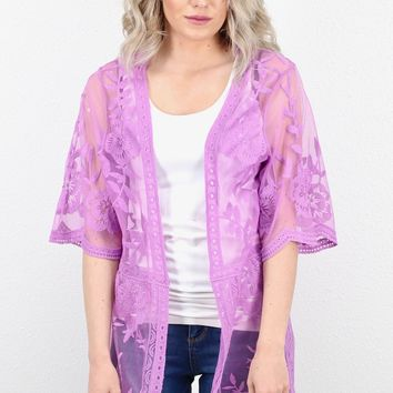 Perfect Sheer Mesh + Lace Kimono {Orchid}