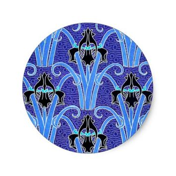 Art nouveau black and purple iris sticker