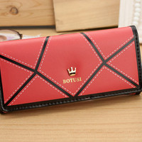 2015 New arrival Fashion Women Wallets Retro Splice Hasp Solid Lady's Long Design Wallet Women Purse More Color Free Shipping