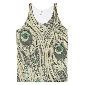 $1 One Dollar Bill Money Currency Art Dye Sublimation All Over Print 3D Full Print Cotton Polyester Unisex Novelty Green & Beige Tank Top