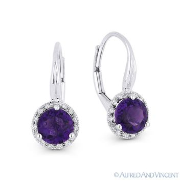 1.45 ct Amethyst & Diamond 14k White Gold Drop Dangling Leverback Baby Earrings