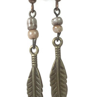 Bohemian feather charm beaded earring, Native American, Nature Jewelry, , Free spirit, Rustic