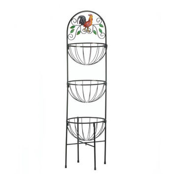 3 Tier Tall Wire Baskets Country Kitchen Rooster Stand