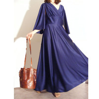 French vtg 1970 Boho maxi night blue dress