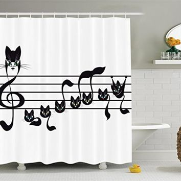 Music Decor Collection Notes Kittens Cat Artwork Notation Tune Halloween Style Pattern Polyester Fabric Bathroom Shower Curtain