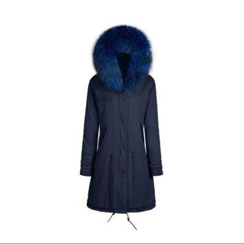 Raccoon Fur Collar Parka Jacket in Navy with Matching Navy Fur 3/4