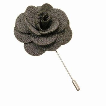 Gray Floral Lapel Pin Boyfriend Gift Men's Gift Anniversary Gift for Men Husband Gift Wedding Gift For Him Groomsmen Gift for Friend Gift