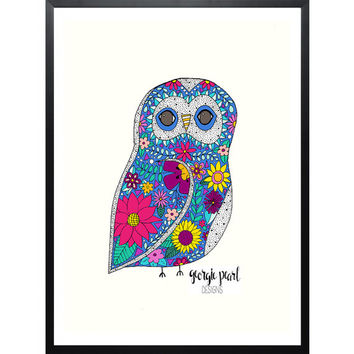 Whimsical Owl Art Print, Dorm Decor, Nursery Decor, Office Decor, Hand Illustrated