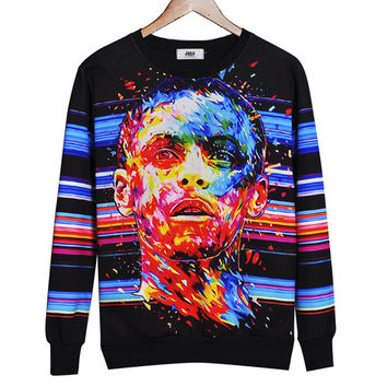 2017 New Fashion Winter Harajuku Sweatshirt Casual Men Women 3D Print Cartoon Character Hoodies Tie Dye Crewneck Pullover Coat