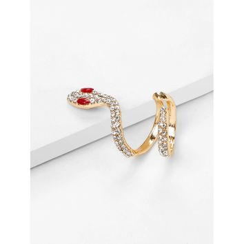 Gold Rhinestone Snake Design Ring