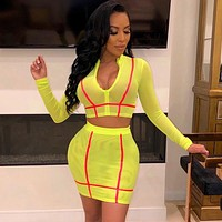 Women Sexy Two Piece Sheer Mesh Neon Striped Long Sleeve Crop Top Skirt Set