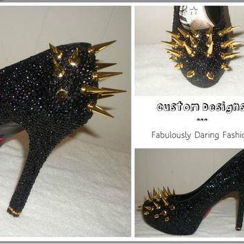 Bling Black Rhinestone Heels for Prom with Gold Spikes