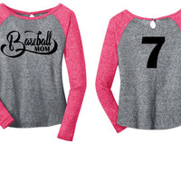 Personalized Player Number Baseball Mom Long Sleeve Raglan Tee