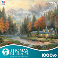 Thomas Kinkade 1000 Piece Puzzle -Evening at Autumn Lake