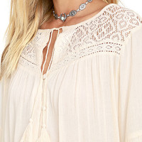 Billabong Desert Coast Cream Long Sleeve Lace Top