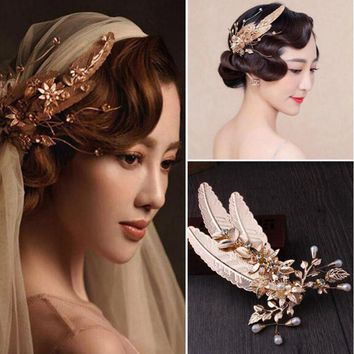 Bridal Hair Accessory Gold Color Leaf Flower Hair Barrette Feather Hairpin Pearl Crystal Baroque Vintage Hair Clips For Wedding