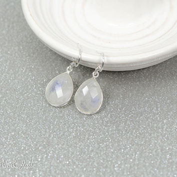 Sterling Silver Teardrop Pear Faceted Rainbow Moonstone Drop Dangle 15x11 Bezel Set Earrings