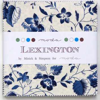 LEXINGTON Charm Pack by Minock & Simpson for Moda, 5-Inch Squares, Precut Fabric, 5 Inch Squares, Stacker, Indigo Blue and Tan Fabric