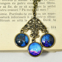 Statement Blue Galaxy Necklace, Big Purple Galaxy Pendant, Glass Dome Resin Chain Necklace