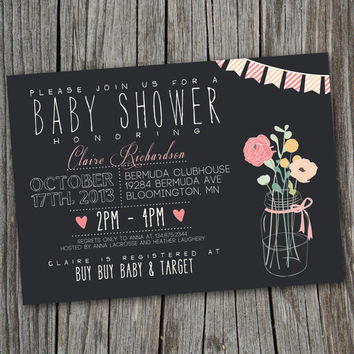 Baby Shower Invitation - Printable, Custom, CHALK, RUSTIC, MODERN