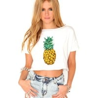 Missguided - Rachelle Pineapple Print Crop Top
