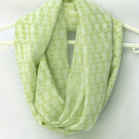 Infinity Scarf.  Light Green Circle Scarf. Tube Scarf. Loop Scarf. Women Accessories.