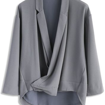 Pops of Grey Wrapped Smock Top