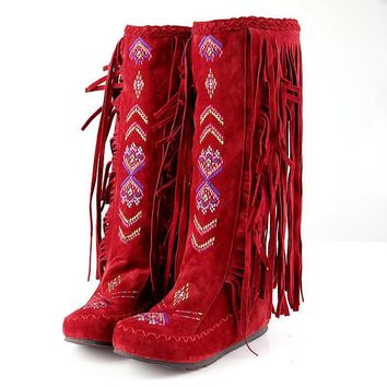 Fashion Chinese Nation Style Tassel boots Flock Leather Women Fringe Long Boots Height Increasing Winter Knee-High women boots