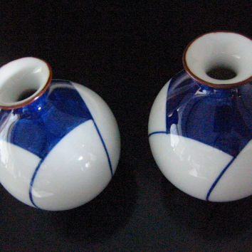Porcelain Vases Art Deco Blue White Asian Geometric Design