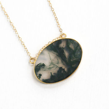 Vintage 12k Yellow Gold Filled Green Moss Agate Pendant - Retro Large White & Dark Green Oval Gem Statement Jewelry