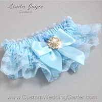 "Alice Blue and Light Blue Lace Wedding Garter ""Penny 10"" Gold"