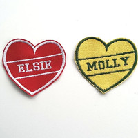 Custom Name Patch/Personalised Embroidered Patch/Heart Patch/Sew On/Iron on