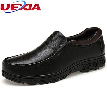 Winter Warm Velvet Luxury Formal Men Shoes Casual Oxford Cow Leather Work Classic Elegant Office Business Dress Plus Size 36-48