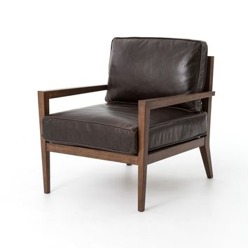 AMARE WOOD FRAME ACCENT CHAIR - DARK BROWN LEATHER